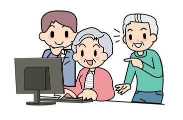 PC of the elderly person Teach