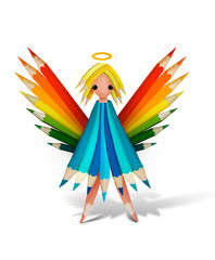 Lovely angel form color pencils