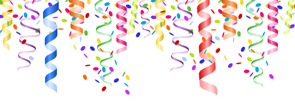 colorful paper streamers with confetti