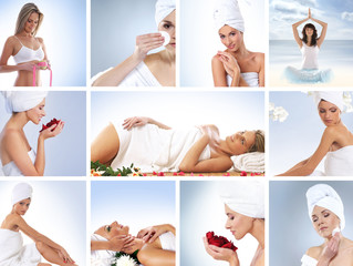 A spa collage of images with young woman and body parts