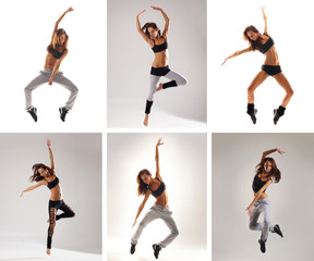 A collage of images with young and fit dancing women