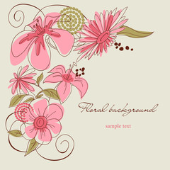Spoed Fotobehang Abstract bloemen Floral background