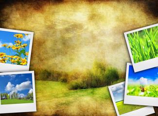 Spring background, vintage frame