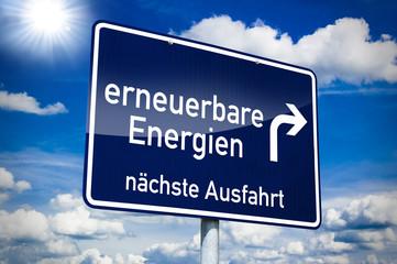 Schild blau mit erneuebare Energien