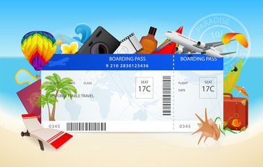 Travel. Conceptual illustration of boarding pass