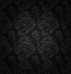 Corduroy dark gray background, ornamental flowers texture fabric