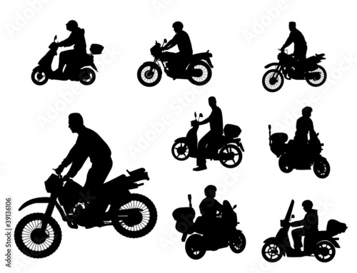 Fototapete motorcyclists silhouettes