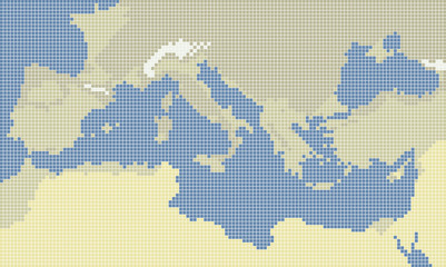 Wall Murals Pixel Mediterranean sea pixel map