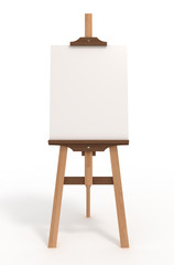 Blank art board, easel, isolated on white, clipping path