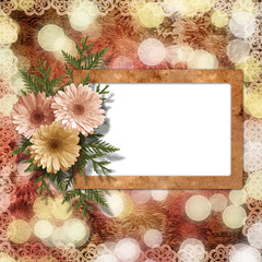 Card for congratulation or invitation with flower on abstract ba