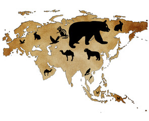 Map of Eurasia with pictures of animals