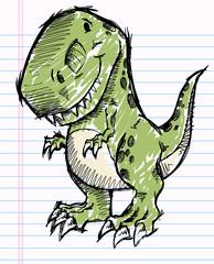 Tyrannosaurus Dinosaur Doodle Sketch Vector
