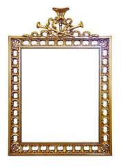 old  gold frame. Isolated over white background