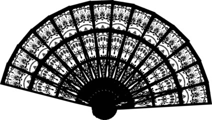 decorated fan silhouette isolated on white