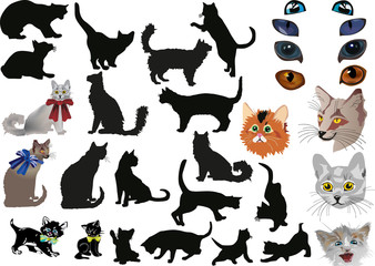 isolated cats collection illustration