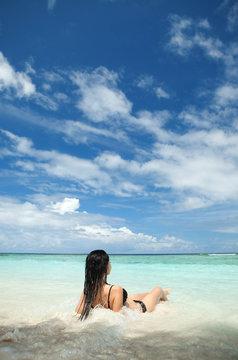 Cute woman relax on the summer beach