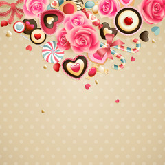 Wall Mural - Valentine`s Day vintage lace card
