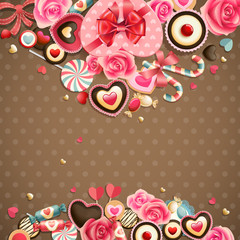 Wall Mural - Valentine`s Day vintage card with sweets