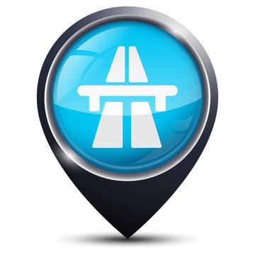Symbole glossy vectoriel autoroute / réseau autoroutier