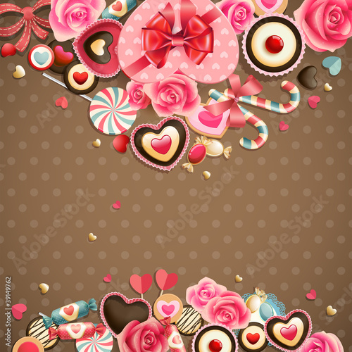 Wall mural Valentine`s Day vintage card with sweets