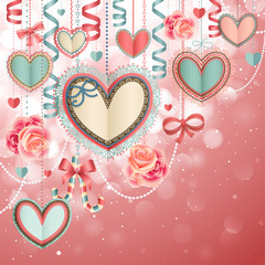 Wall Mural - Valentine`s Day vintage card with paper hearts