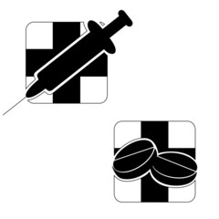 Black-and-white emblems on a medical theme