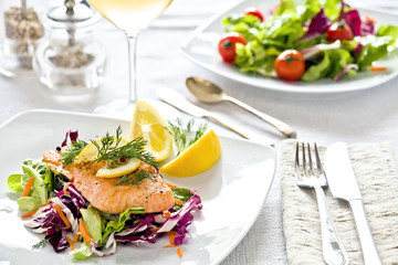 Salmon and Salad Meal
