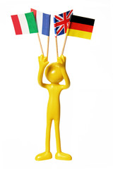 Figure with European Flags