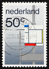Postage stamp Netherlands 1983 Composition by P. Mondriaan