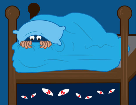 Kid hiding in covers from monsters under the bed.