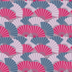 Colorful japanese fan seamless pattern