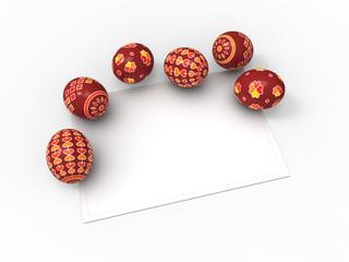 Jajka wielkanocne, kolekcja pisanek i kartka na życzenia
