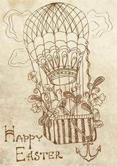 retro Easter card with air Balloon