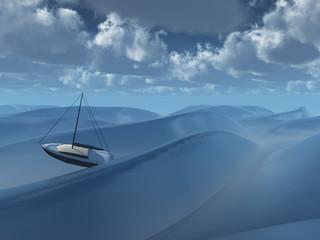 Small boat amongst waves