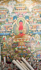 Shops where all kinds of thangka paintings, Nepal