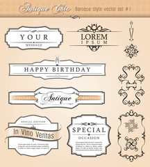 Baroque antique styled vector set.