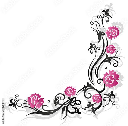 rosen ranke flora blumen bl ten schwarz pink. Black Bedroom Furniture Sets. Home Design Ideas