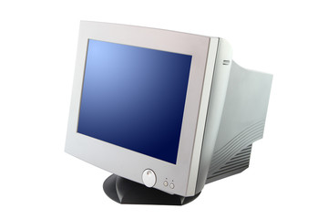 Side of cathode ray tube monitor on white background.