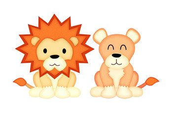 Applique  work in the form of lion from a fabric