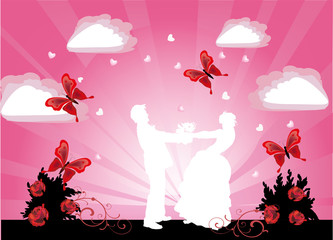 pink illustration with wedding coupl