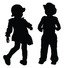 Silhouettes of boy and girl playing
