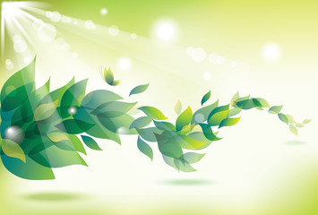 Abstract summer background with green leaves.