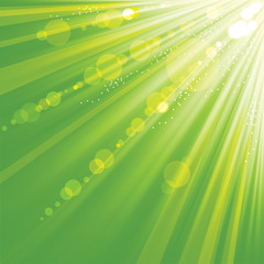 Abstract green background with rays.