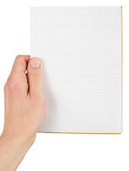 Hand mit Notizbuch