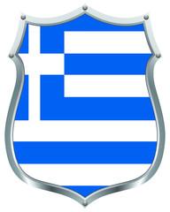 Greek flag on a shield
