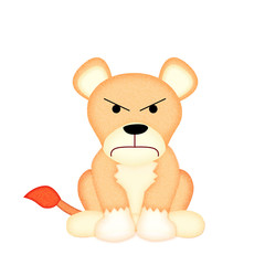 Applique  work in the form of angry lion from a fabric