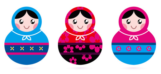 Russian doll collection isolated on white