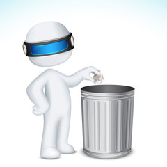3d Man using Dustbin