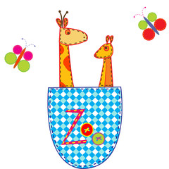 Zoo illustration with giraffe and kangaroo in a pocket