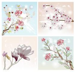 set of spring scenes
